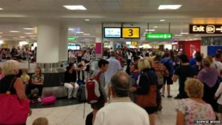 A crowded area at Gatwick Airport