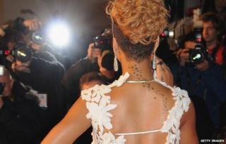 Stars tattoo design on Rihanna's back
