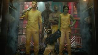 Chris Pratt, Dave Bautista and Zoe Saldana with 'Rocket Raccoon' and 'Groot' in Guardians of the Galaxy