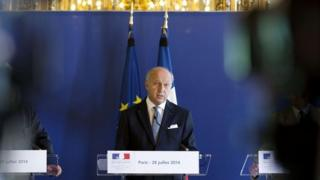 French Foreign Minister Laurent Fabius at a press conference in Paris - 28 July 2014