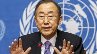 UN Secretary-General Ban Ki-moon speaks to the media during a press conference at the European headquarters of the United Nations in Geneva, Switzerland, on Tuesday, June 17