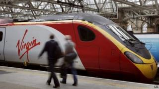 Virgin train at Glasgow Central station