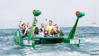 Nico, Natasha, Sholto and Ed test the pedalo round the Isle of Wight