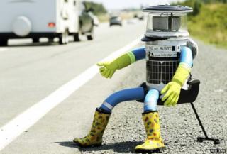 Robot hitch-hiker in Halifax, Nova Scotia