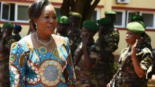 Transitional President Catherine Samba Panza arrives at parliament in Bangui, CAR - May 2014