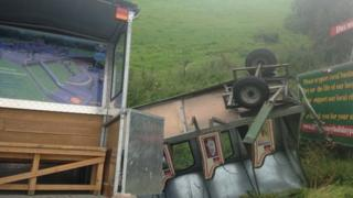The mini-train overturned at Drumhoney Holiday Park on Sunday morning