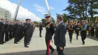 Prince Harry at a new memorial arch in Folkestone, Kent