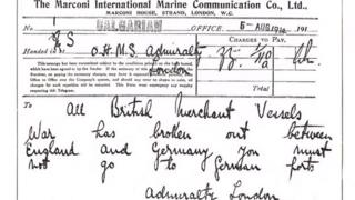 The declaration of World War One to merchant ships