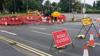 Road closure in Worcester