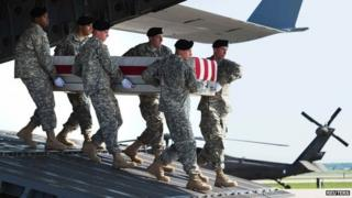 A US Army detail carries a transfer case with the body of Major General Harold Greene during a dignified transfer at the Dover Air Force Base in Dover, Delaware 7 August 2014