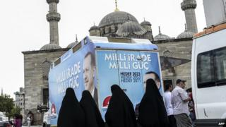Four Muslim women walk past an election bus supporting Mr Erdogan
