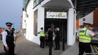 Police outside the Grape and Olive