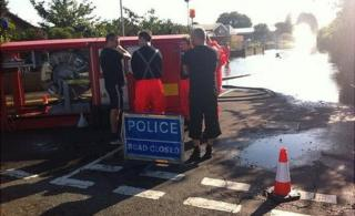 Fire crews in March helping to pump out flood water
