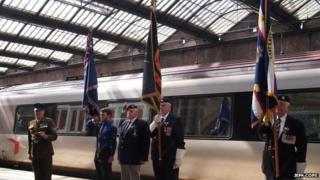 Standard bearers during the memorial service
