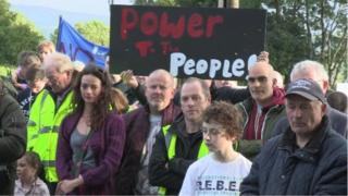Protesters held an ecumenical service at the gates of the quarry on Monday night