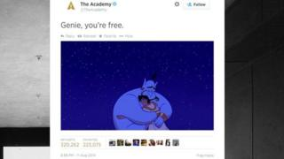 A tweet from the Academy of Motion Picture Arts and Sciences following the death of Robin Williams