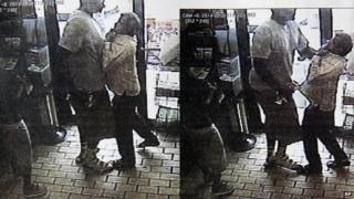 Surveillance stills allegedly showing Michael Brown robbing a convenience store.