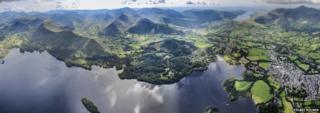 A panorama of Keswick and Derwent Water