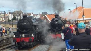 Steam trains at Whitby station