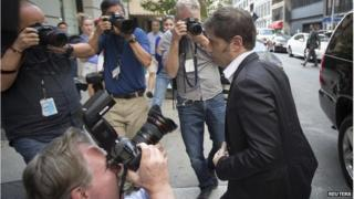 """Argentina""""s Economy Minister Axel Kicillof arrives at a press conference at the Argentine Consulate in New York July 30, 2014."""