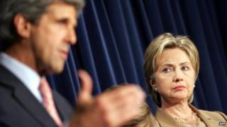 Hillary Clinton and John Kerry at a news conference in Washington DC - 2 August 2007