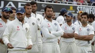 India's players look on during the presentations after losing the fifth cricket test match and the series against England at the Oval cricket ground in London August 17, 2014