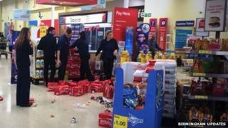 A Tesco spokesman said there was some minimal damage to a few goods inside.