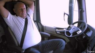 Man in autonomous lorry