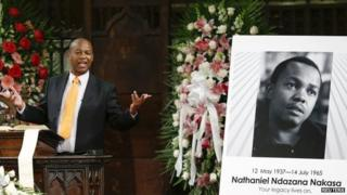 Sipho Masondo, nephew of exhumed South African journalist Nathaniel Nakasa, speaking during a memorial service for his uncle Nat Nakasa in the Broadway Presbyterian Church in New York, 16 August 2014