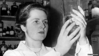 Margaret Thatcher working as a chemist
