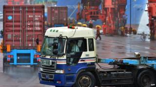 Tokyo port cargo loading zone