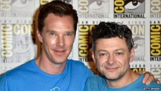 Benedict Cumberbatch with Andy Serkis