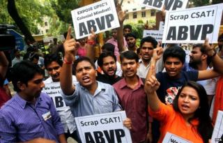 Protests against the Civil Services Aptitude Test in Delhi, India, August 2014