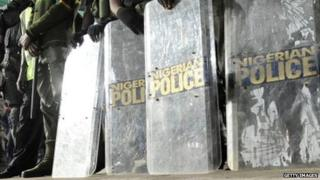 Riot police shields in Nigeria - archive shot