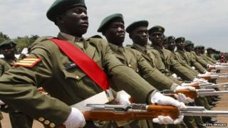 Ugandan armed forces on parade