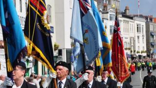 Standards being carried in the Guernsey Liberation Day Parade 2014
