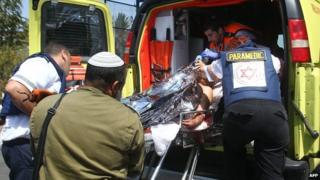 Wounded Israeli man in an ambulance in the city of Ashkelon (24 August 2014)