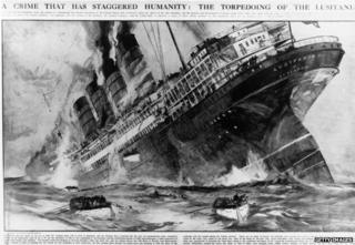 Illustration of the torpedoing of the Lusitania