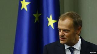 Poland's Prime Minister Donald Tusk attends a parliamentary meeting in Warsaw, 29 August 2014