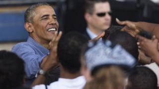 President Obama greets crowds in Milwukee, Wisconsin, on Labor Day