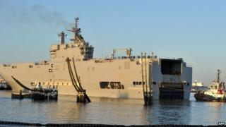 Vladivostok helicopter carrier in French port of St Nazaire - 5 March