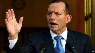Australian PM Tony Abbott in file image from 31 August 2014