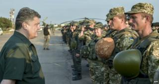 President Petro Poroshenko speaking to Ukrainian soldiers at Mariupol airport - 8 September 2014