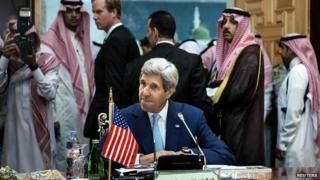 US Secretary of State John Kerry waits for start of Gulf Co-operation Council and Regional Partners meeting in Jeddah. 11 Sept 2014