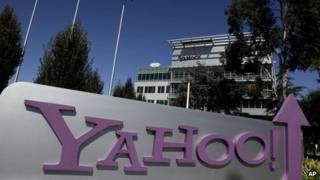 Yahoo sign outside HQ