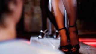 Dancer's legs on platform