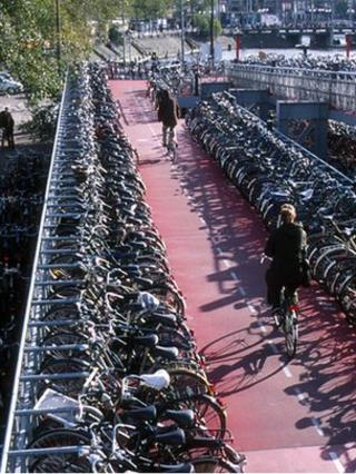 Bicycle park, Amsterdam (Image: BBC)