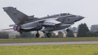 A Royal Air Force (RAF) Tornado GR4 aircraft takes off