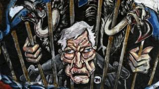 Graffiti depicting US judge Griesa