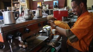 Murad Hiyare, one of Tomoca's experienced baristas, plying his trade